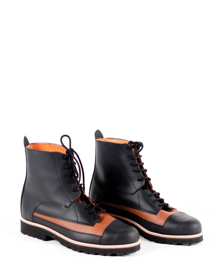 <img class='new_mark_img1' src='//img.shop-pro.jp/img/new/icons2.gif' style='border:none;display:inline;margin:0px;padding:0px;width:auto;' />Deux Souliers - Oxford Boot #1 Black-Natural ツートン・レースアップ・ショートブーツ (ブラック/ブラウン)