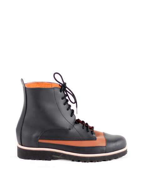 <img class='new_mark_img1' src='//img.shop-pro.jp/img/new/icons2.gif' style='border:none;display:inline;margin:0px;padding:0px;width:auto;' />Deux Souliers (MENS) - Oxford Boot #1 Black-Natural ツートン・レースアップ・ショートブーツ (ブラック/ブラウン)