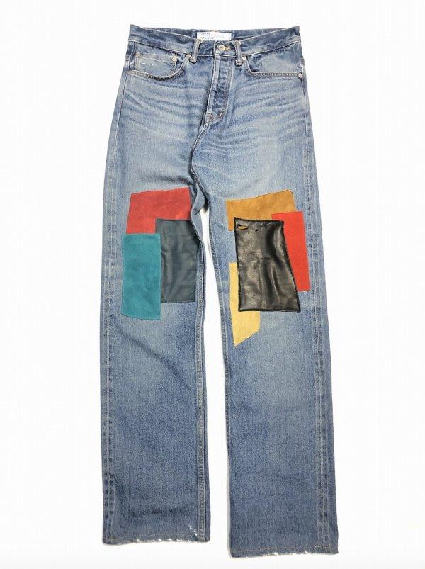 DAIRIKU/ダイリク/Leather Patch Work Slim Denim Pants