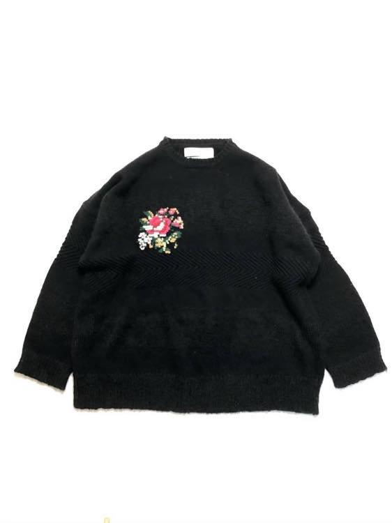 DAIRIKU/ダイリク/Flower Cross Embroidery Border Knit